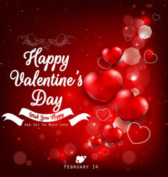 valentines day greeting with red heart balloons vector image vector image