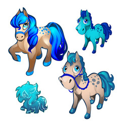 a set of figurines in the form of fairy pony vector image