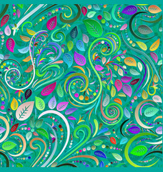 Abstract hypnotic herbal seamless background in vector
