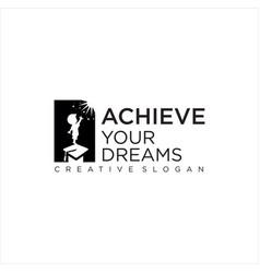 Achieve dream kids logo design star vector
