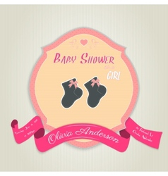 Baby shower invitation with socks for girl vector
