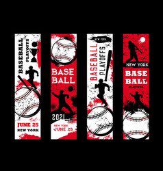 baseball playoffs flyers sport grunge cards vector image
