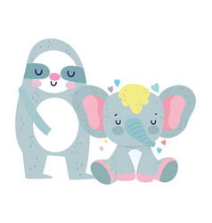 bashower cute sloth and elephant cartoon vector image