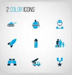 battle icons colored set with dynamite zoom vector image