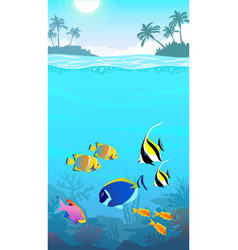beautiful underwater world seascape fish and sea vector image