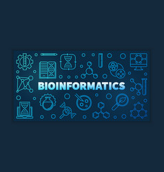Bioinformatics blue outline banner linear vector