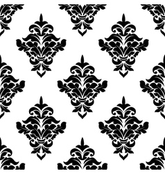 Black and white victorian floral seamless pattern vector