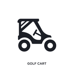Black golf cart isolated icon simple element from vector
