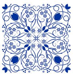 Blue azulejo ceramics tile folklore patterns in vector