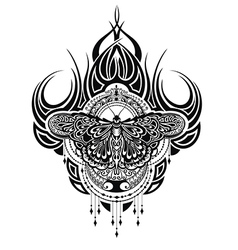 Butterfly tattoo in geometrical style vector image