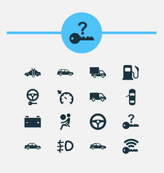 Car icons set includes icons such as repairing vector