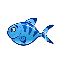 cartoon blue fish vector image