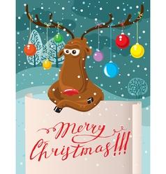 Cartoon deer with paper Christmas banner vector
