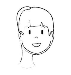 Cartoon woman face icon vector