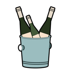 champagne bottles on ice bucket vector image