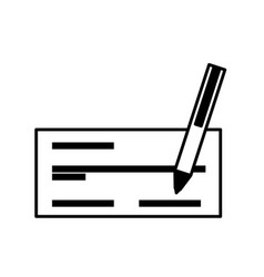 Check bank with pen icon vector