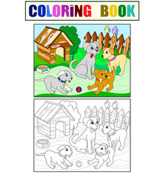 childrens color and coloring book cartoon family vector image