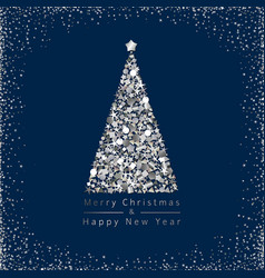 christmas tree silver vector image