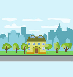 City with two-story cartoon houses vector