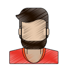 Color pencil faceless half body man with beard vector