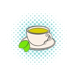 Cup of tea icon comics style vector