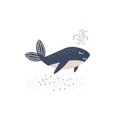 cute whale cartoon ocean vector image