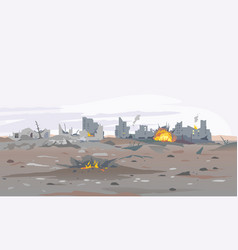 Destroyed city landscape background vector