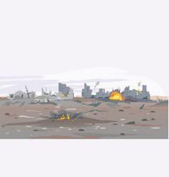 destroyed city landscape background vector image