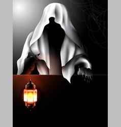 devil holding a lamp behind black sheet vector image