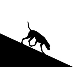 Dog runs downhill vector