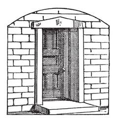 Door out vintage engraving vector