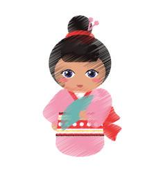 drawing japanese doll geisha folk image vector image
