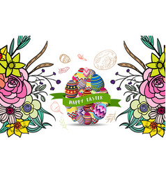 easter background with traditional decorations vector image