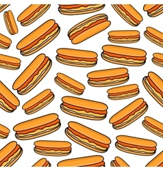 Fast food hot dogs seamless pattern vector