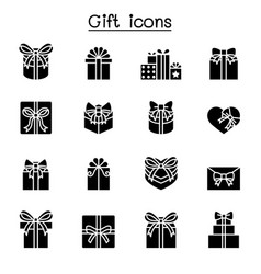 gift box present icon set vector image