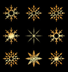 gold snowflakes set icon collection on white vector image