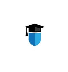 graduation hat shield logo design icon vector image