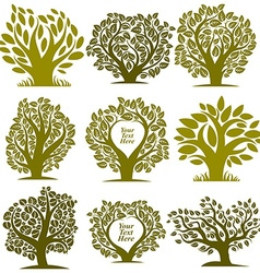 graphic of green trees with empty copy space vector image