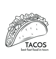 Hand drawn tacos icon vector
