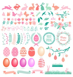 Happy Easter set of design elements vector image