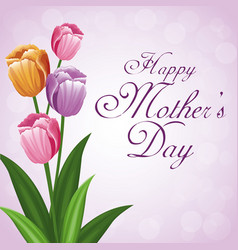 happy mothers day bunch flower tulip beauty vector image