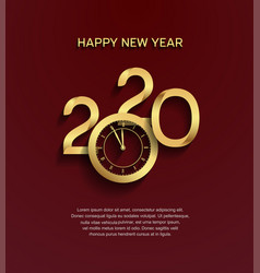 Happy new year 2020 golden number with silver big vector