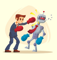 human male man character win better robot vector image