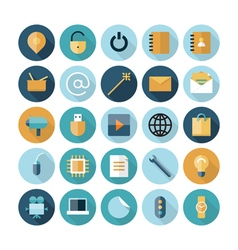 icons flat line ui program vector image