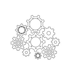 Isolated gears set vector