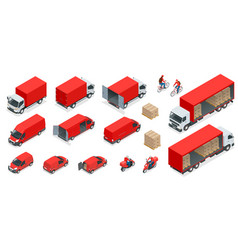isometric logistics icons set of different vector image