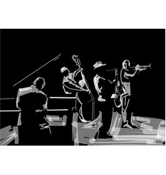 Jazz band black and white musical vector