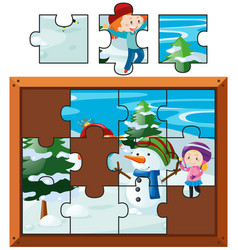 jigsaw puzzle with kids playing snow vector image