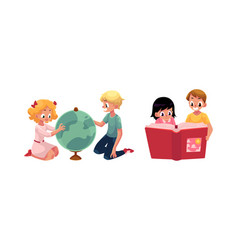 kids children learning studying globe reading vector image