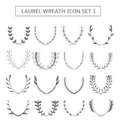 Laurel wreath icons vector